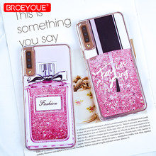 Case For Samsung Galaxy A7 2018 S8 S9 S10 Plus S7 Edge Note 9 A5 2017 J7 J3 J5 2017 2016 Glitter Liquid TPU Silicone Case Cover(China)