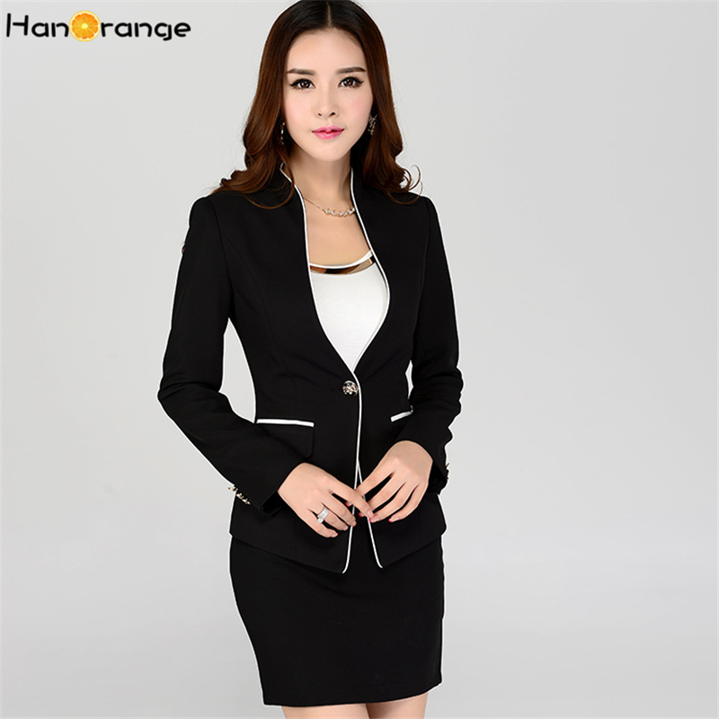 7e7ae65a3b0 HanOrange Elegant Long Sleeve Fashion Female Work One Button Office Lady  Women Formal Blazer Jacket Skirt Suit Black Plus Size-in Skirt Suits from  Women s ...