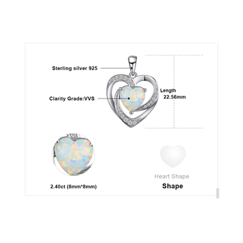 Heart Created Opal Pendant Sterling Silver Gemstone Statement Necklace  4