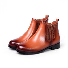 High Quality Black Brown Red Cowhide Round Toe Medium Thick Heels Women Ankle Boots Winter New Warm Comfortable Booties Shoes