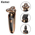 Kemei IPX7 4D Floating Electric Shavers for Men Waterproof Rechargeable Male Shaver Razor Head Nose Trimmer Washable Man Shavers