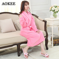 Terry Bathrobes Brand New Spa Bathrobes Winter Robes Quality Coral Velvet Bathrobes for Womens Bathroom Wear Wrap Towels A0048