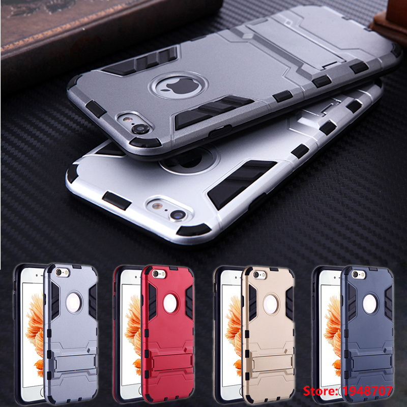 6 6s Plus Mans Style Dual Layer Heavy Duty Tough Armor Case Stand Holder Hybrid Design Cover For Iphone Iphine 5 5s Se 6 6s Phone Pouch