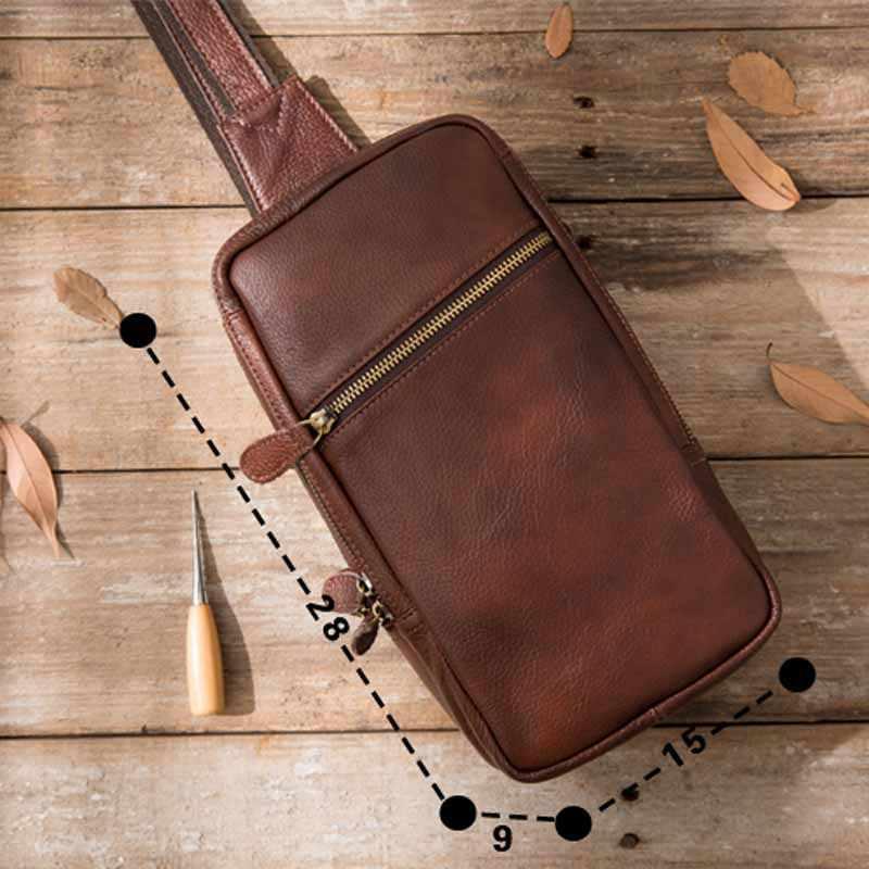 AETOO nuevo retro hombre pecho Baotou capa de cuero casual de gran capacidad de cuero de aceite de cuero bolso de hombre bolsa de pecho Hombre