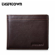 TIGERTOWN Men's Wallet Genuine Real Cowhide Classical Leather TriFold Clutch Fashion Purse For Men Black Card Holder(China)
