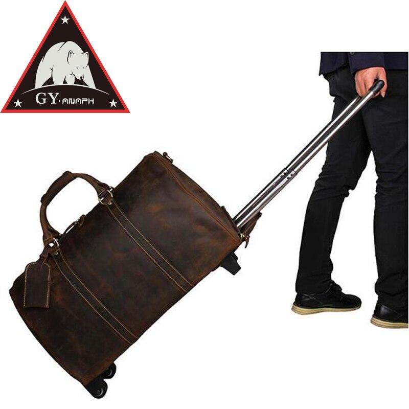 8787f446111 ANAPH Unisex Rolling Suitcase  Crazy Horse Leather Carry On Luggage   Overnight Travel Wheeled Duffle