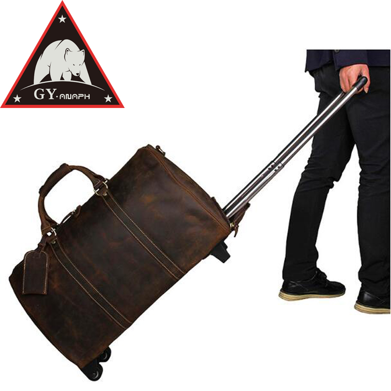 ANAPH Unisex Rolling Suitcase/ Crazy Horse Leather Carry On Luggage/ Overnight Travel Wheeled Duffle Bag/ 21 Inch Reise Koffer