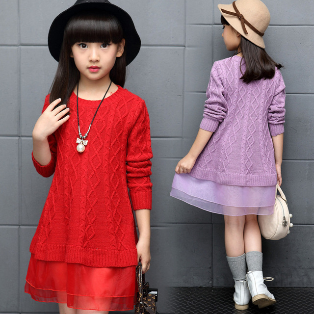 Red Kids Girls Clothes Children Autumn Winter Knitted Sweater Dress For Girls Long Sleeve Pullover Mesh Princess Dress New 2018