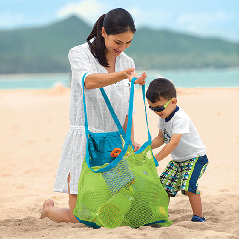 Beach Sand Toy Storage Mesh Bag For Children Kids Large Folding Beach Toy Organizer Net Bag Sand Away Handbag Outdoor Beach Tool