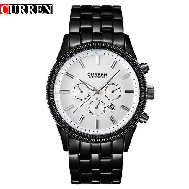CURREN 8058 watches men brand watch men White Steel Watch with Calendar