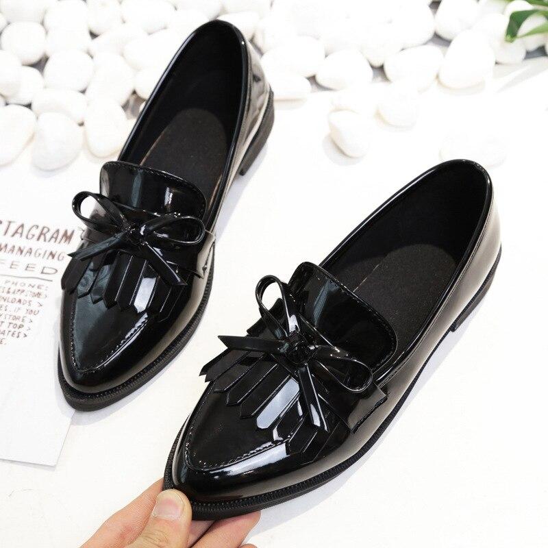 2018 מותג נעלי אישה מזדמן ציצית קשת הבוהן מחודדת שחור אוקספורד נעלי נשים דירות נוח להחליק על נשים נעליים
