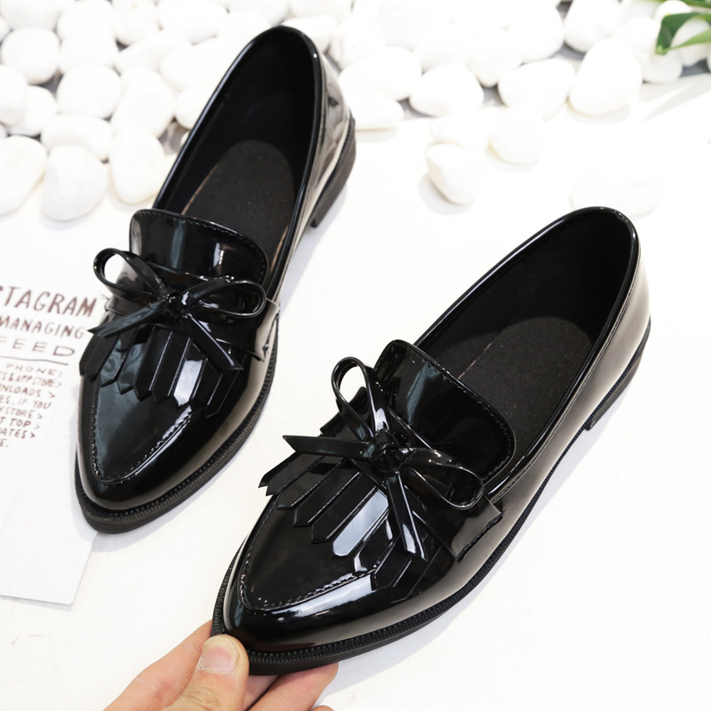 2018 Brand Shoes Woman Casual Tassel Bow Pointed Toe Black Oxford Shoes