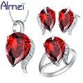 Almei Conjuntos de Jóias de Prata Para As Mulheres CZ Diamond Ring Set Parure Brincos Com Pedra Vermelha 2017 Nova Nupcial Do Casamento Bijoux Femme T067