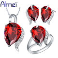 Almei Silver Jewelry Sets For Women CZ Diamond Ring Set Parure Bijoux Femme Wedding Earrings With Red Stone 2017 New Bridal T067