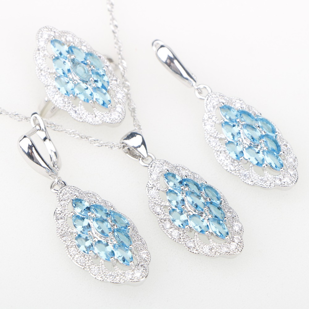 Sky Blue Zircon Stones Silver 925 Bridal Jewelry Sets Pendant Necklace Earrings Rings For Women Wedding Set of jewelery Free Box