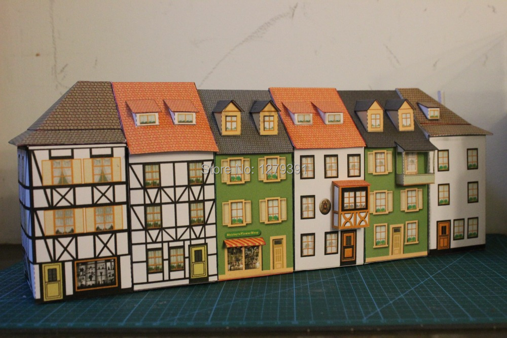 US $15 99 |Free Shipping 1:87(HO) relief houses papermodel kit, Scale can  be altered to 1:72 , suitable for model train or war game-in Model Building