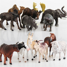Forest Farm animals models figures figurines set toys small plastic Simulation horse  camel cow sheep Elephant Gift For Kids