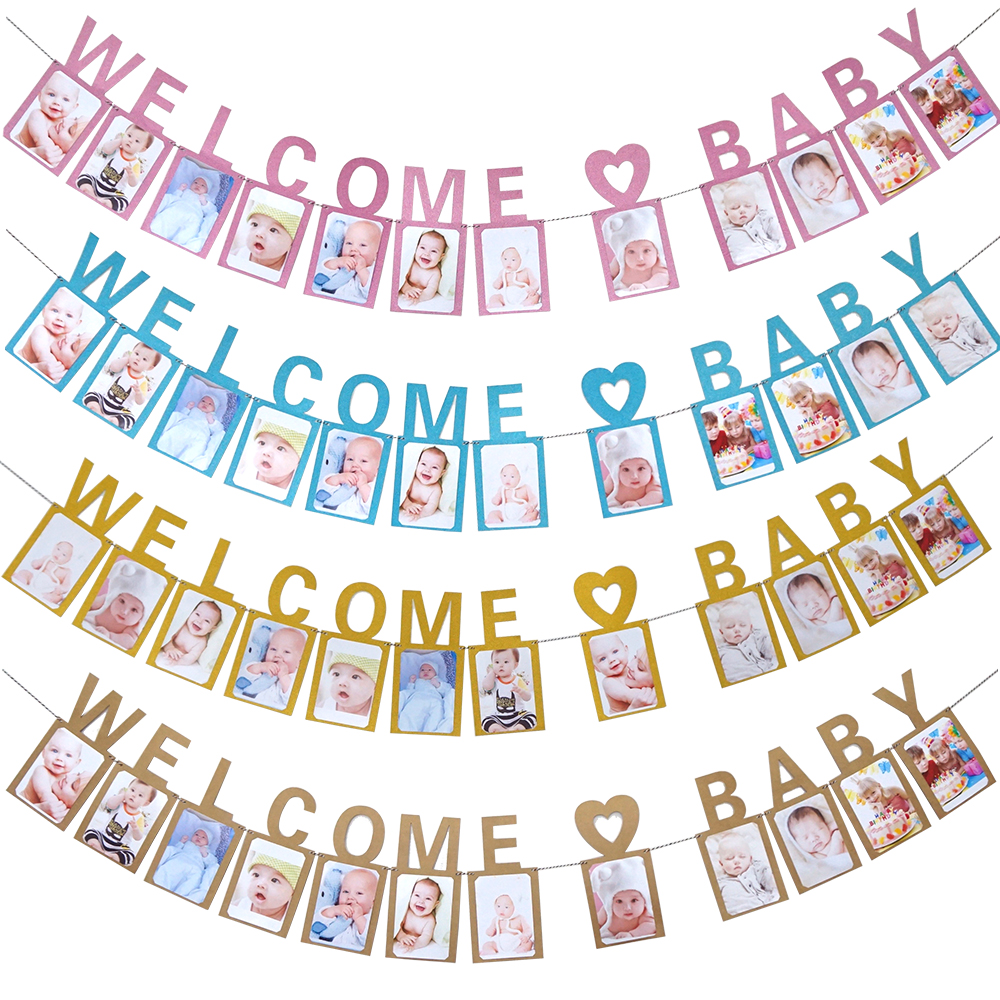 New Baby First Year Party Photo Banner Bunting Flag 1st Birthday Present Gifts
