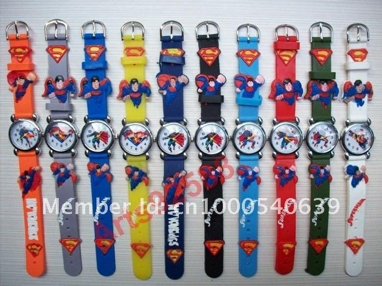 DHL 200 шт./лот Супермен фигурку Дети Девушки Дети Мальчики кварцевые мультфильм часы Мода часы, ВС-19
