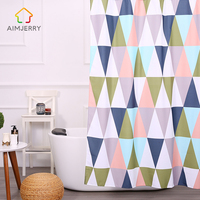 Aimjerry New 180 180cm Geometric Polyester Mildewproof Waterproof Bathroom Products Shower Curtain With Hooks Rideau De