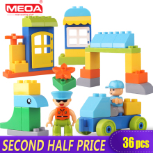 Clearance Sale Preschool 36pcs Big Size Building Block Toys for Children My Town Large Bricks with Figures Compatible With Duplo