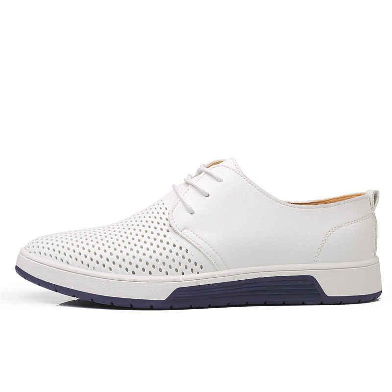 Lüks marka erkekler rahat ayakkabılar bahar erkek deri ayakkabı moda erkek Flats nefes delik ayakkabı erkekler 39 S ayakkabı Sneakers