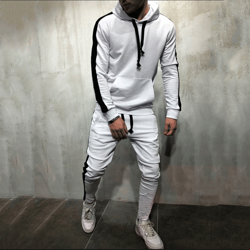 Male Stripe Patchwork Hoodies Bigsweety 2 Pieces Sets Tracksuit Men New Brand Autumn Winter Hooded Sweatshirt +Drawstring Pants