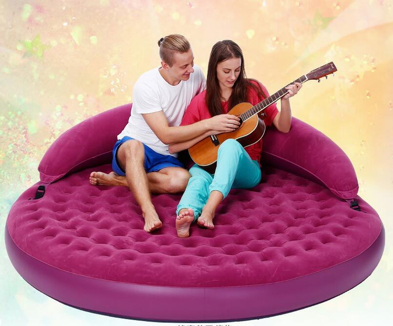 High-grade flocking back half-lying round sofa lazy leisure double-inflated inflatable sofa bed,new round sex beds with pillow