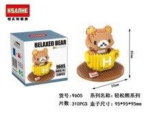 HSANHE 9605 Rilakkuma Series Teacup Bear Education Minifigure Diamond Bricks Minifigure Building Block Toys Gift