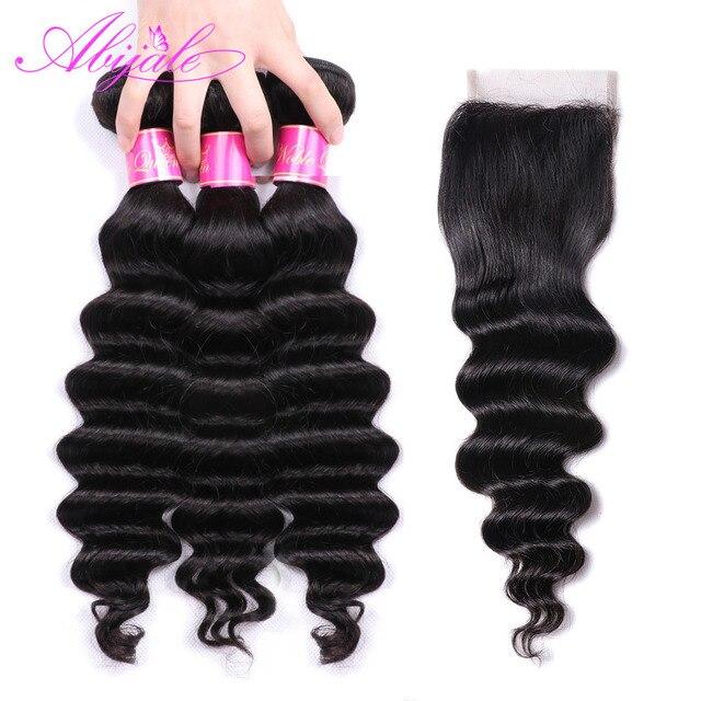 Paquetes de onda profunda suelta Abijale con cierre paquetes de cabello humano no Remy con cierre paquetes de cabello malayo con cierre