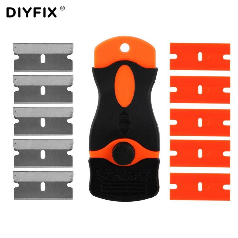 DIYFIX LOCA UV Colle Remover Scraper Couteau pour Téléphone LCD Écran tactile Résidu Adhésif De Nettoyage Réparation Tool Set avec 10 Pcs lames