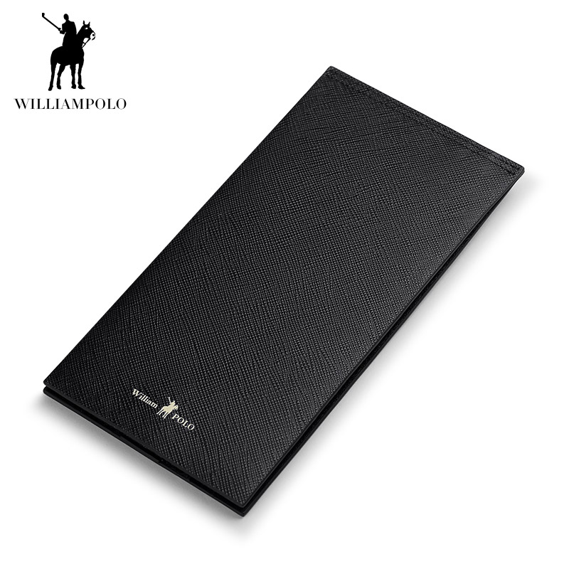 WILLIAMPOLO 2018 Fashion Leather High Quality 15 Card Wallet Men Travel Pouch Card Pocket POLO185133