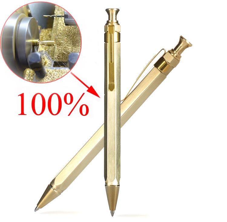 High Quality EDC Gold Optional Minimalism Superfine Ballpoint Pen Pure Brass Copper Tactical Ballpen Writing Outdoors 0.5mm