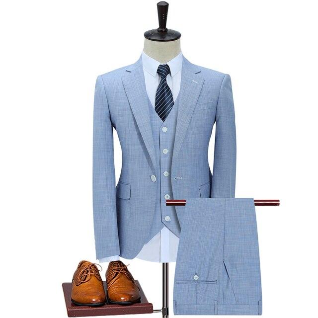 Slim Fit Men Suits For Wedding One Button Dark Blue Light Blue Mens Formal  Suits Spring Autumn 3 Piece Suit f44351915