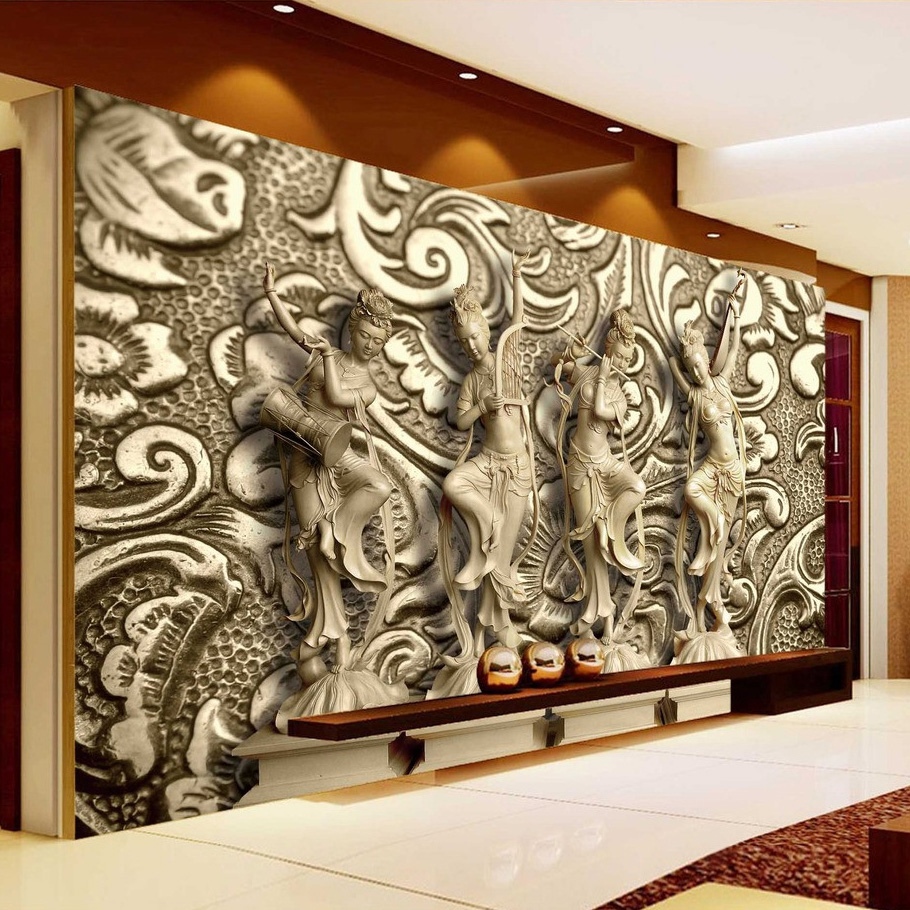 Custom Photo Wallpaper 3D Stereoscopic Relief Statue Living Room TV Background Wall Painting Wallpaper Mural Papel De Parede 3D