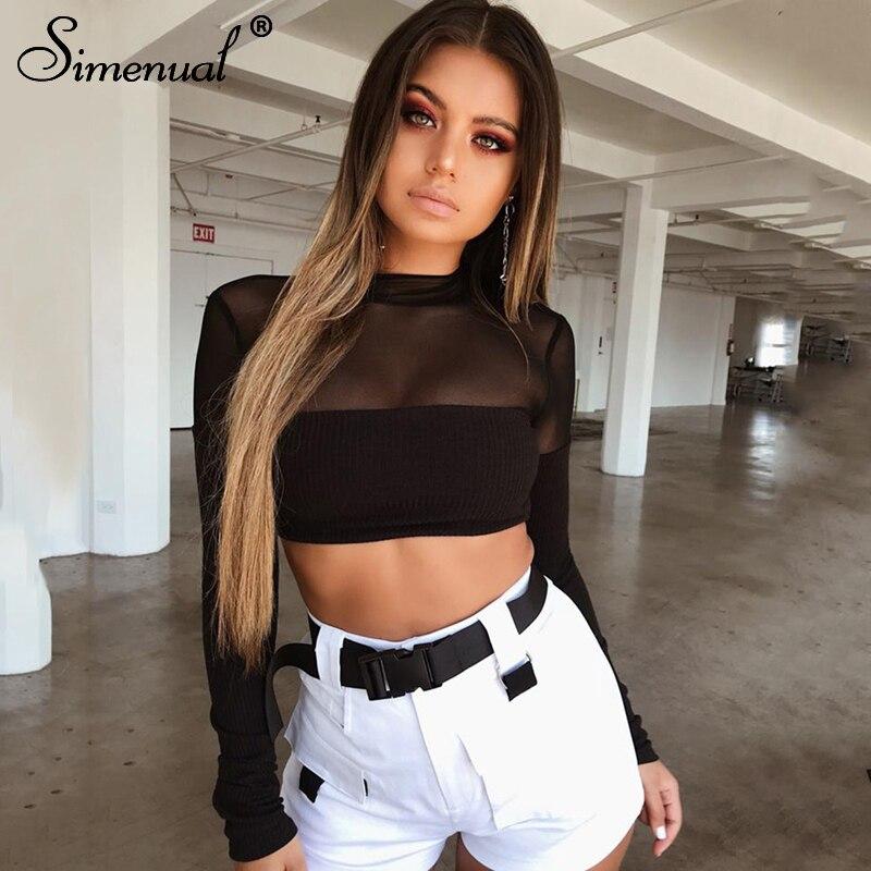 Simenual Patchwork mesh t-shirt female crop top 2018 fashion transparent sexy black t shir