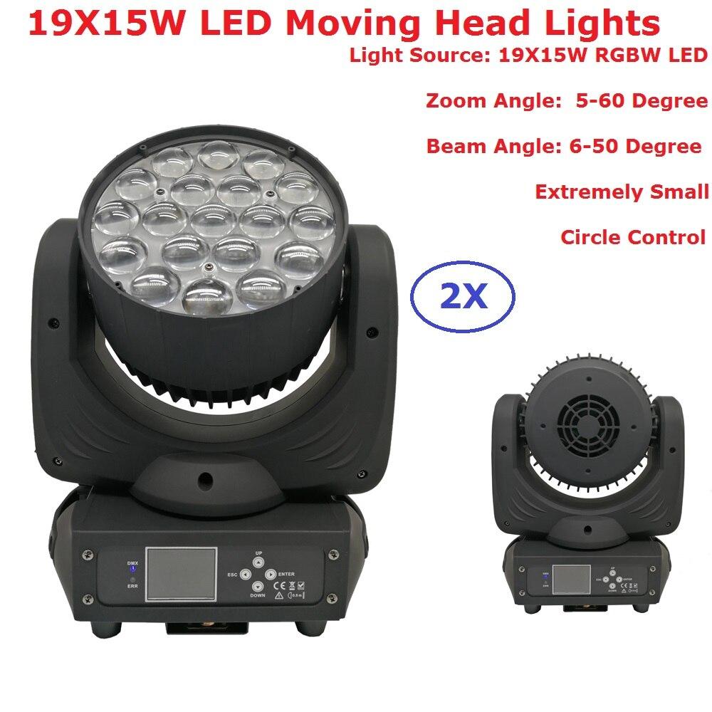 2XLot New Design RGBW 4IN1 LED Stage Lights 19X15W Moving Head Wash Beam Lights DMX512 Led Dj Xmas Sound Active DMX Disco Light