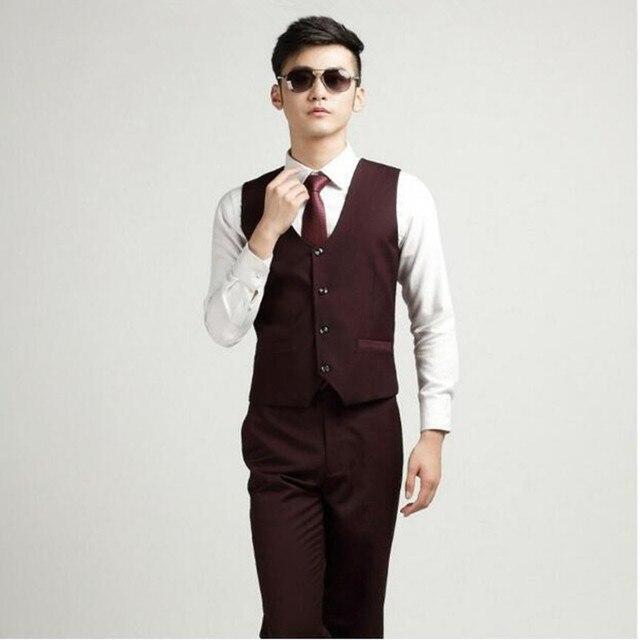 2482db1286081 Moda personalizada hombres oficina de negocios formal Chalecos bestman traje  rojo vino mens boda Trajes novio