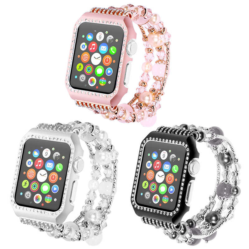 Agate strap with frame band for Apple watch series 5 4 3 2 1 Handmade Beaded Elastic Bracelet Replacement Wrist Strap 38MM 42MM