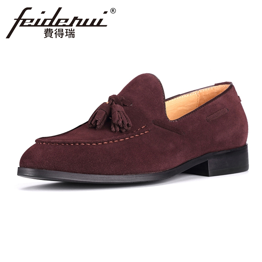 Plus Size British Style Men's Comfortable Loafers Round Toe Slip on Handmade Man Cow Sued Leather Casual Moccasin Shoes MLT32 plus size british designer men s comfortable loafers round toe slip on handmade man genuine leather casual moccasin shoes mlt10