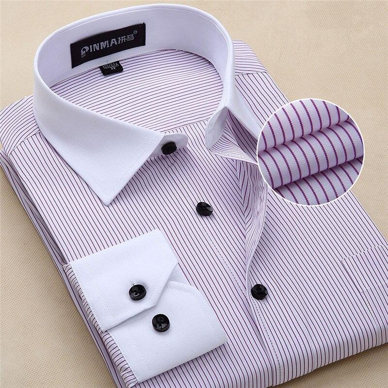 2017 big size Fashion White Collar Striped Men Shirts Brand Design Chemise Homme High Quality Cotton Business Dress Shirt