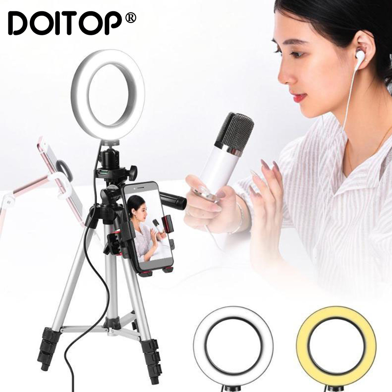 DOITOP Dimmable LED Studio Camera Ring Light Photo Mobile Phone Video Annular Lamp Tripod Selfie Stick For Xiaomi iphone HuaweiDOITOP Dimmable LED Studio Camera Ring Light Photo Mobile Phone Video Annular Lamp Tripod Selfie Stick For Xiaomi iphone Huawei