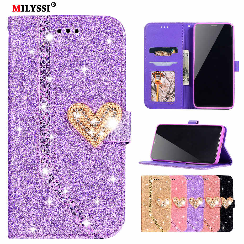 Glittering PU Leather Flip Wallet Case for Samsung Galaxy J3 J4 J5 J6 J7 2017 A5 A6 A7 A8 A9 2018 S9 S8 S7 Plus Note 9 8 Case