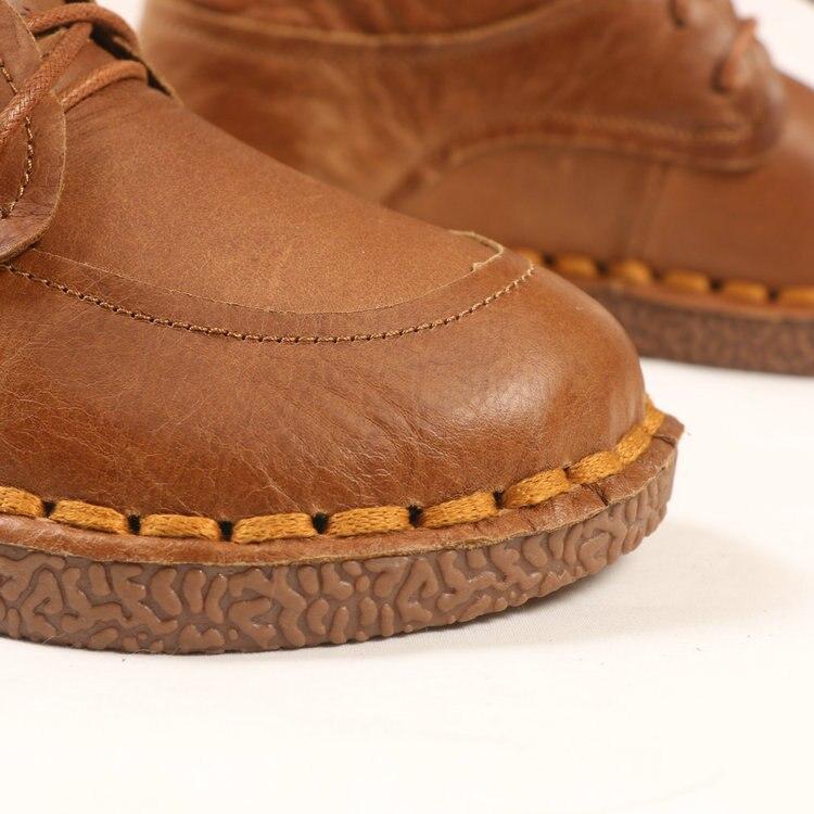 HUIFENGAZURRCS Botas planas redondas de cuero real retro de arte para mujer, zapatos hechos a mano puros cómodos botas informales suaves que combinan con todo-in Botas hasta el tobillo from zapatos    3