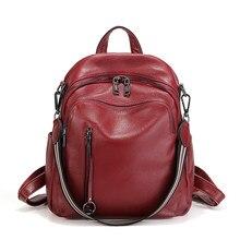 Nesitu nouvelle mode noir bleu rouge en cuir véritable femmes sacs à dos femme fille sac à dos dame sac de voyage sacs à bandoulière # M88039