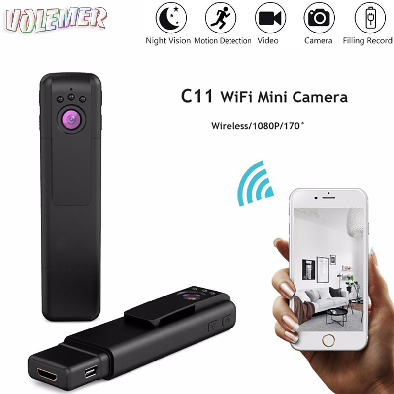 2018 NEW Volemer HOT C11 mini camera Wifi Portable full hd 1080P 720P H.264 HD Night Vision Wide Angle DV DVR flexible camera цена