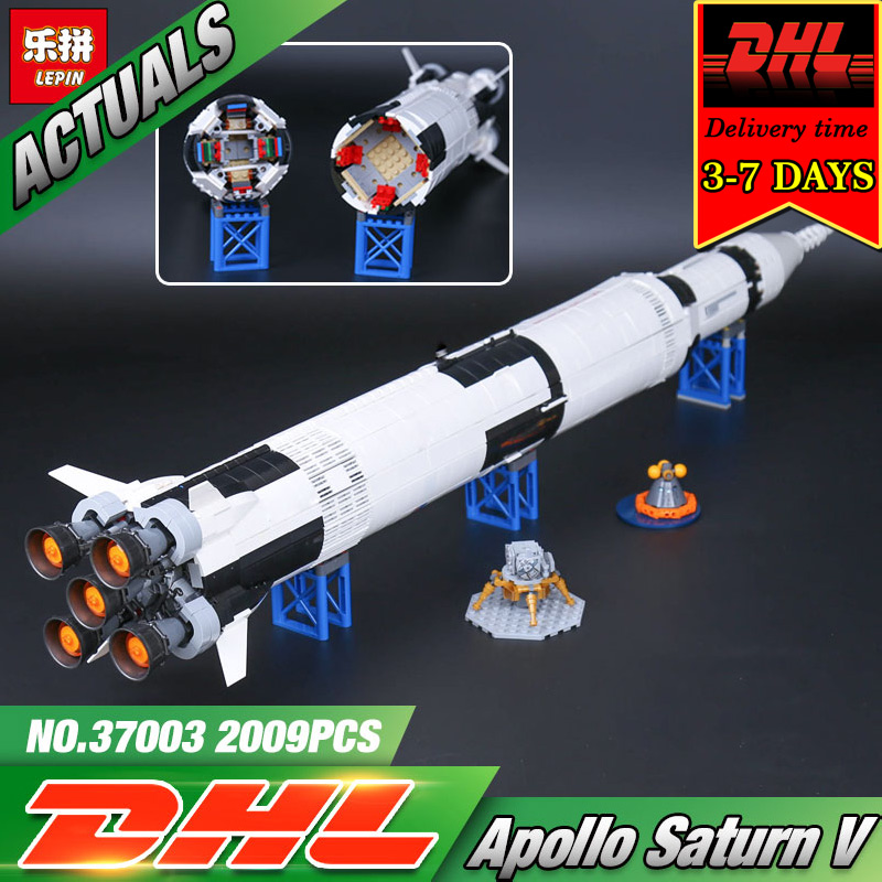 DHL LEPIN 37003 The Apollo Saturn V Launch Vehicle Model Kit Building Blocks Set Compatible Military Brick Toy For Children Gift apollo ru bun lock children puzzle toy building blocks