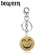 Lovely Smile Face Rhinestone Expression Keyring Charm Pendant Purse Bag Key Ring Chain Keychain Gift