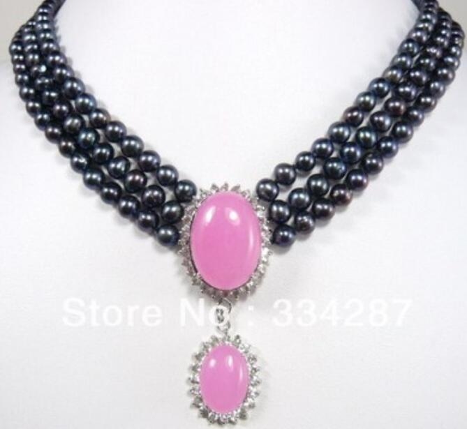 Noblest 3 row 6 7mm Genuine Freshwater black pearl Πnk jades pendant wedding necklace