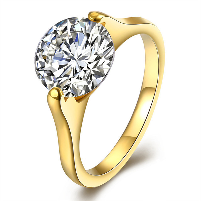 Yellow Gold Color Imitation Diamonds Engagement Ring Cz Crystal Cubic Zirconia Wedding Anium Steel Rings For